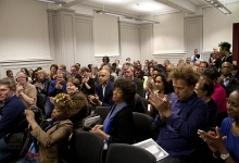 Photograph of Audience at New Walk Museum Art Gallery for Maggie Scott in converstaion with Bim Adewunmi