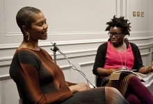 Photograph of Maggie Scott in conversation with Bim Adewunmi New Walk Museum Art Gallery