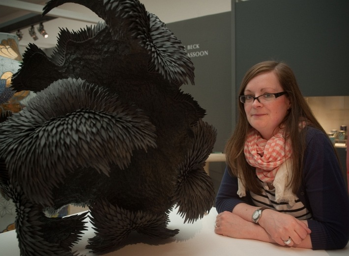 Photograph of Yvonne Hardman with work by Junko Mori photo by Mark Crick